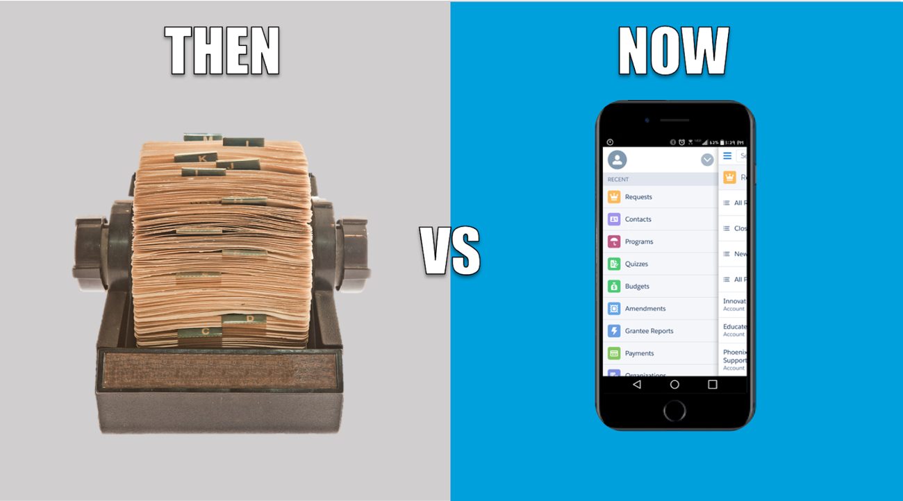 Photograph comparison of rolodex and smartphone