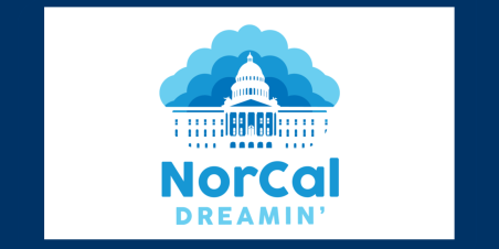 Image: NorCal Dreamin logo of clouds and Sacramento State Capitol Building