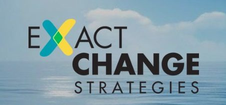 Image: Blue sky and ocean with Exact Change Strategies logotype