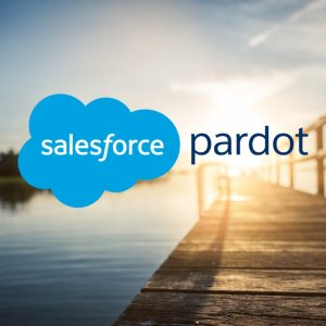Image: Pardot logo with photo of sunrise over wooden pier.