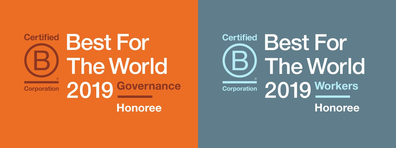 Logos of B Corp Best For The World Honors Governance and Workers 2019