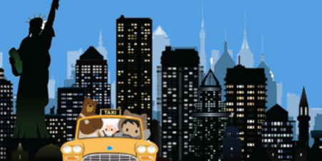 Image: Salesforce mascots driving a yellow cab in front of the New York City skyline.