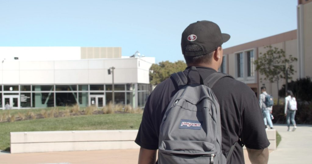 Photo: Students walking around Skyline College campus.