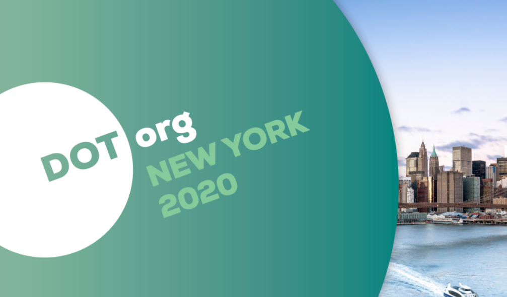 Image: Text that reads DOT org New York 2020 with a photo of the New York city skyline.