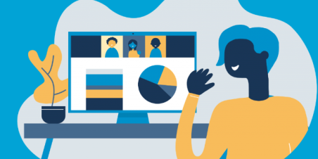 Illustration of person working at a computer to join a web conference call