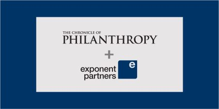 Image: typeface logo for Chronicle of Philanthropy and Exponent Partners