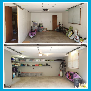 Photos: interior garage before and after shows newly improved and organized garage