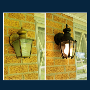 Photo: Before and After light fixture upgrade