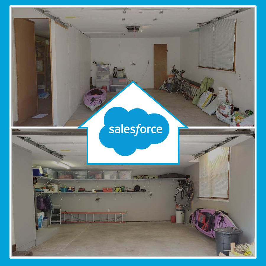 Before and After photos of garage remodel