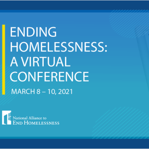 """Conference Banner with text that reads """"Ending Homelessness: A Virtual Conference"""""""