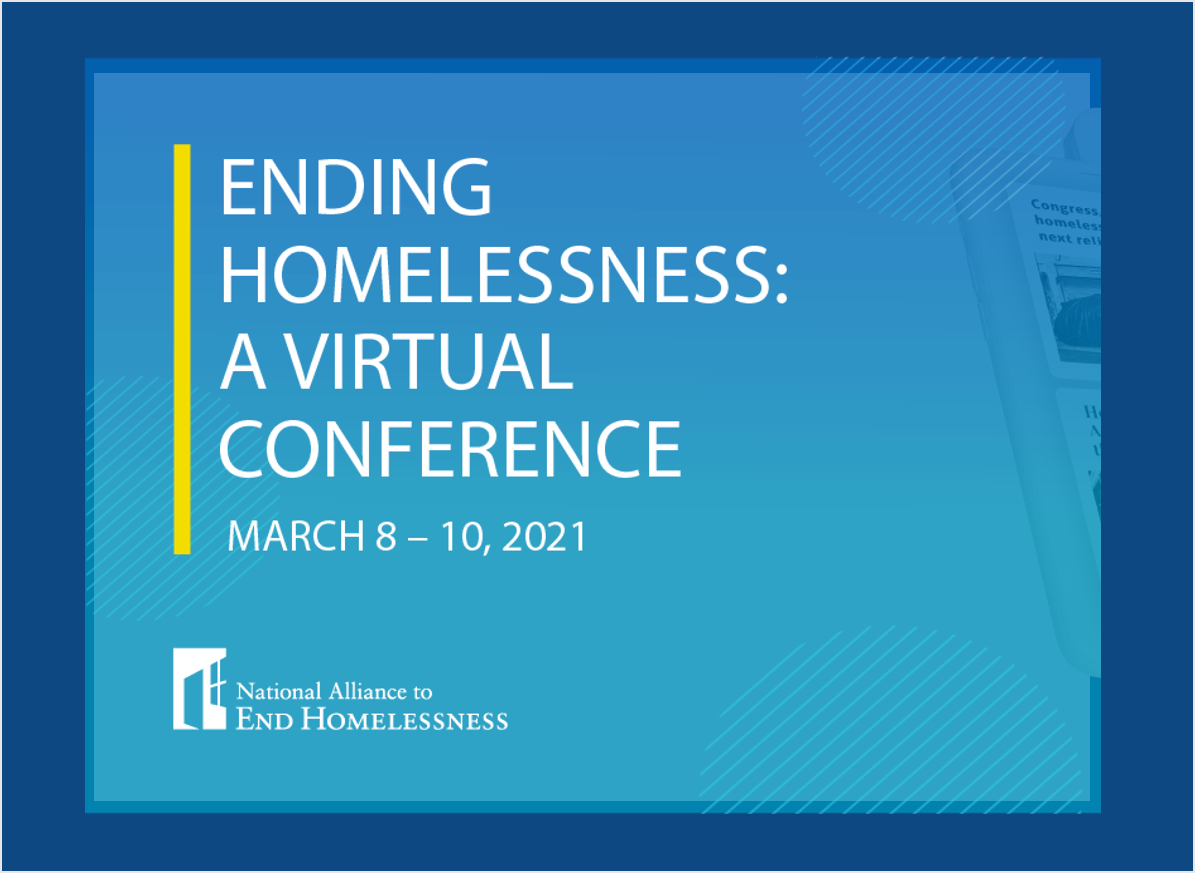 "Conference Banner with text that reads ""Ending Homelessness: A Virtual Conference"""