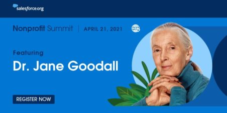 Banner image with Salesforce logo featuring photo of Dr. Jane Goodall