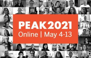 Collage grid of people on a web conference with PEAK 2021 Onlin conference banner