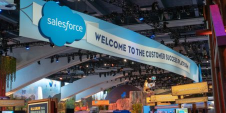 Photo: Conference banner that reads Salesforce Welcome to the Customer Success Platform
