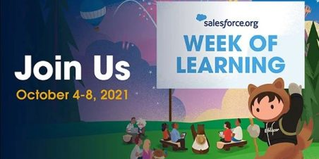 Illustration of Salesforce mascots under a banner that reads Salesforce.org Week of Learning